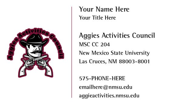 Aggies Activities Council Business Card