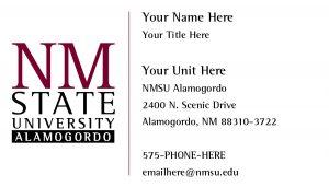 NMSU Alamogordo - General Business Cards