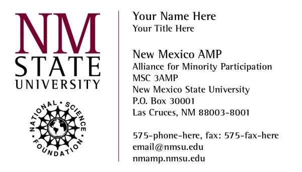 NMSU Alliance for Minority Participation - Business Card