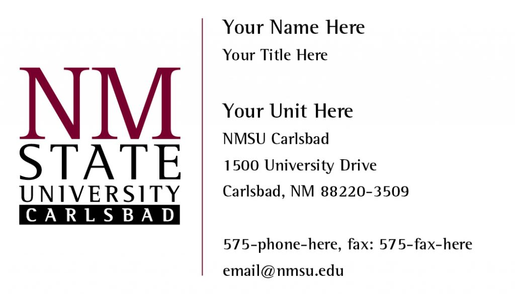 NMSU Carlsbad- General Business Cards
