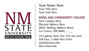 NMSU DACC Buisness Cards