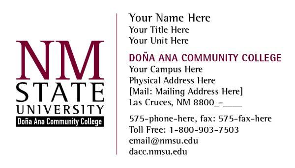 NMSU DACC Buisness Cards