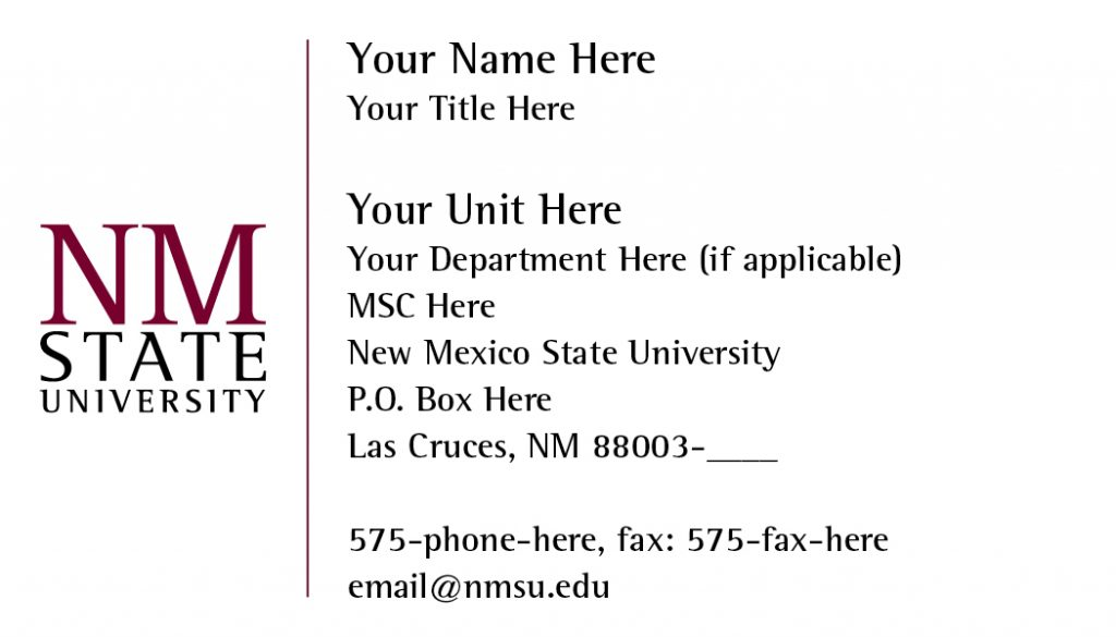 NMSU General Business Cards – Small Logo