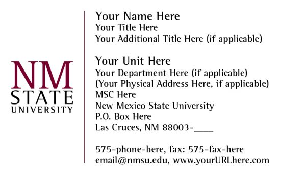 NMSU Business Card - Small Logo with Extra Elements Layout