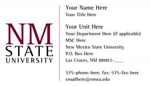 NMSU General Business Card with Standard Logo & Basic Layout