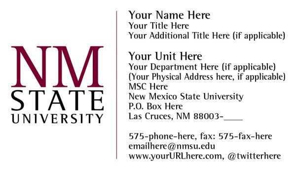 NMSU Business Card with Standard Logo with Extra Elements Layout