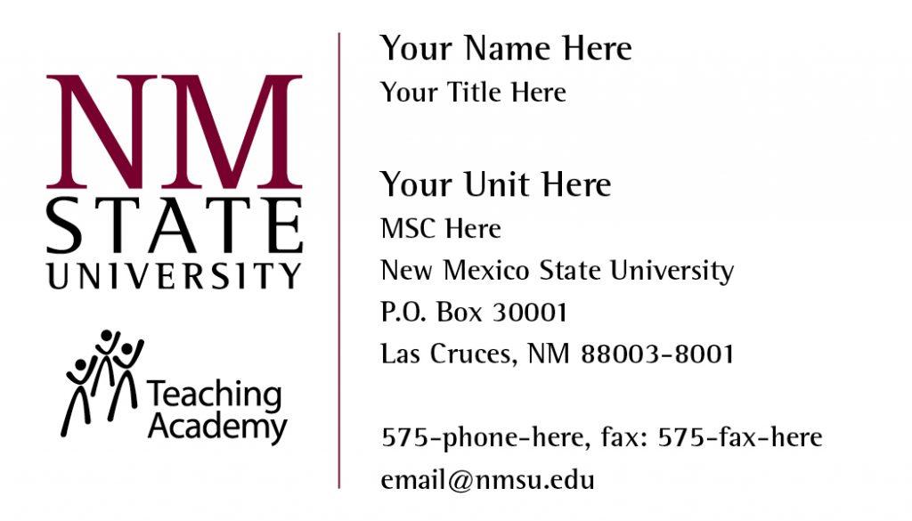 NMSU Teaching Academy – Business Cards