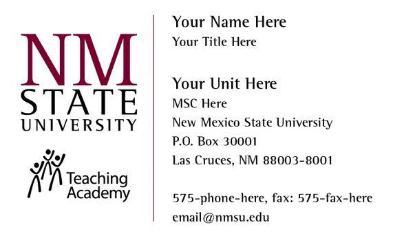 NMSU Teaching Academy - Business Card