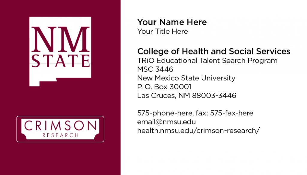 NMSU Crimson Research – Business Cards