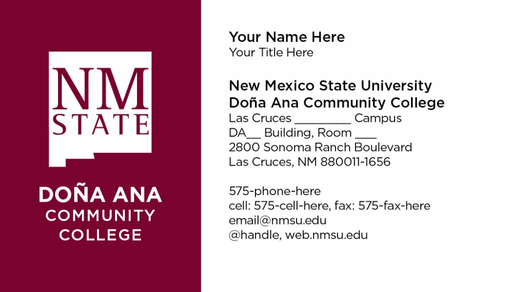 NMSU DACC – Business Cards