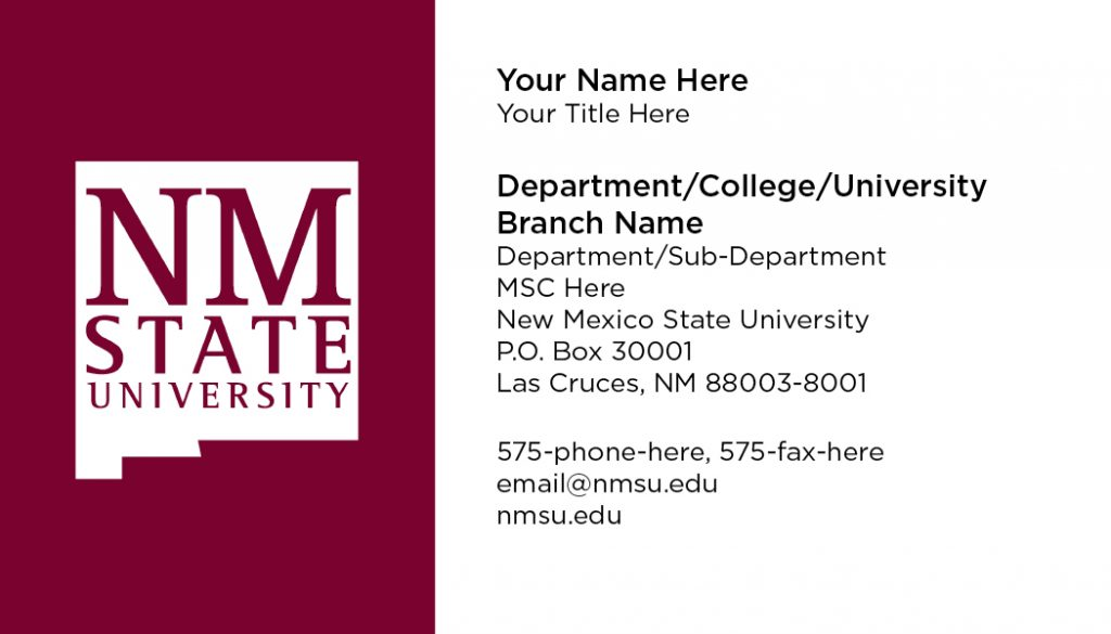 NMSU General Business Cards – Standard Logo