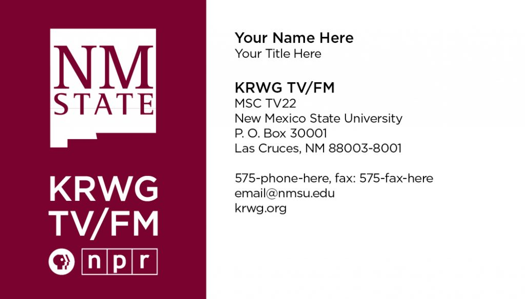 NMSU KRWG FM & TV – Business Cards