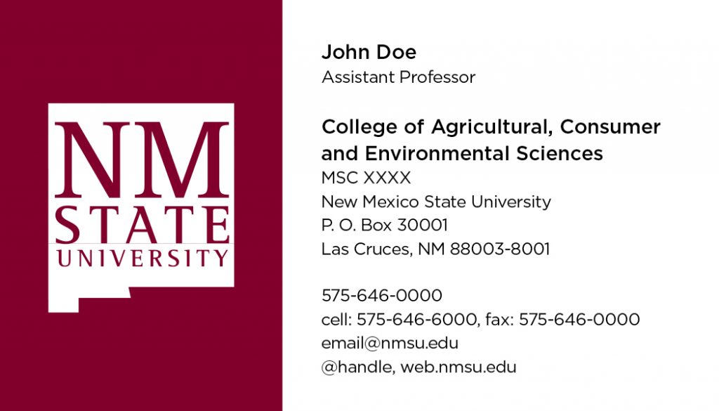 NMSU College of ACES – Business Cards