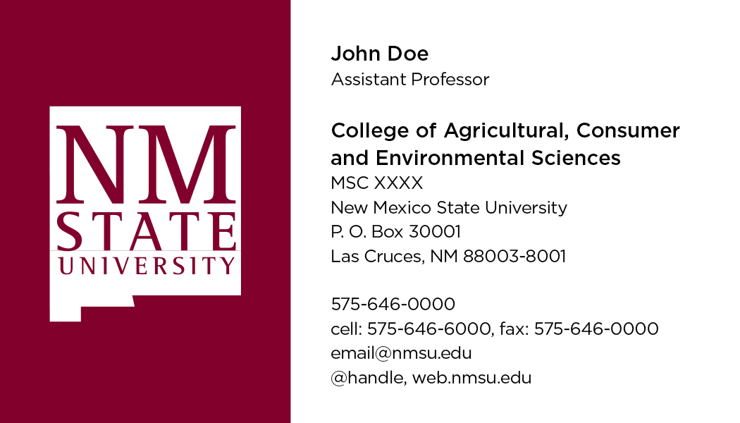 NMSU College of ACES - Business Cards - Del Valle Design & Imaging