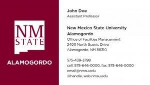 NMSU Alamogordo - Business Cards