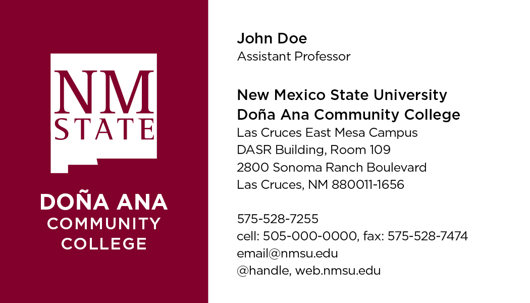 NMSU DACC - Business Cards - Del Valle Design & Imaging