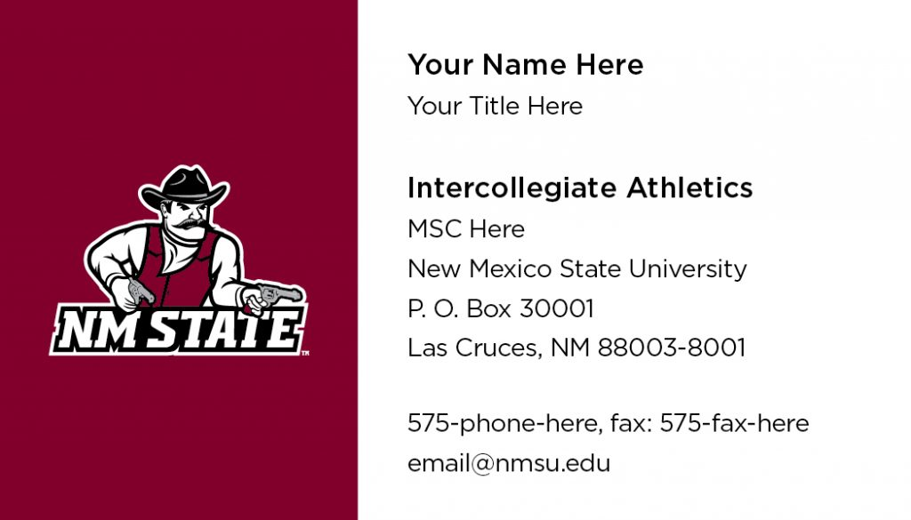 NMSU Intercollegiate Athletics – Business Cards