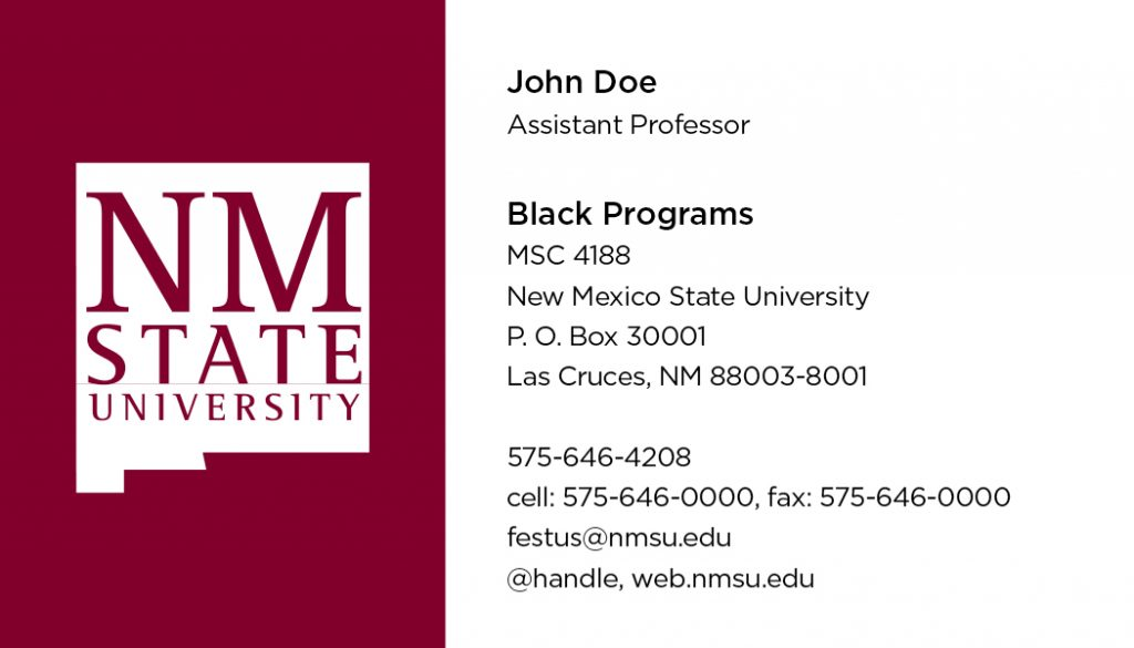 NMSU General Business Cards