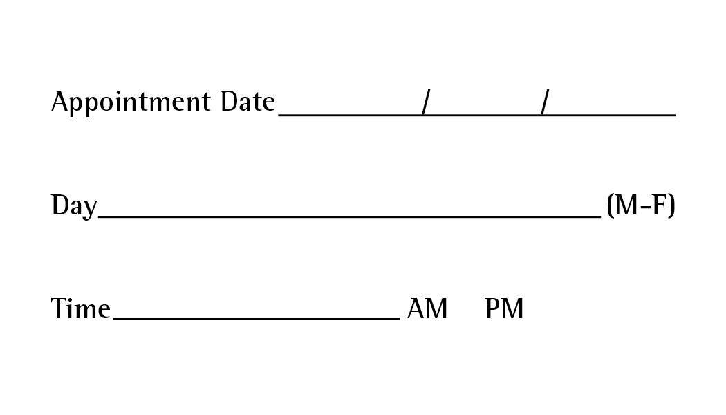Appointment Back Template #1