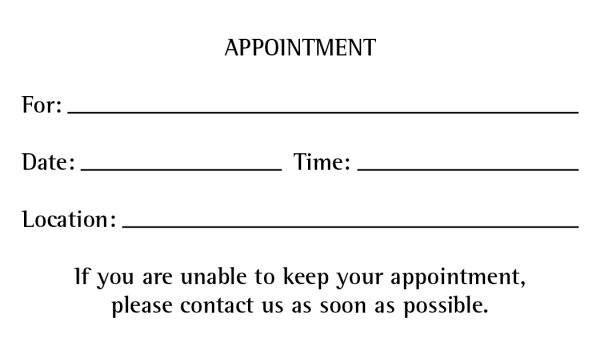 Appointment Back Template #3