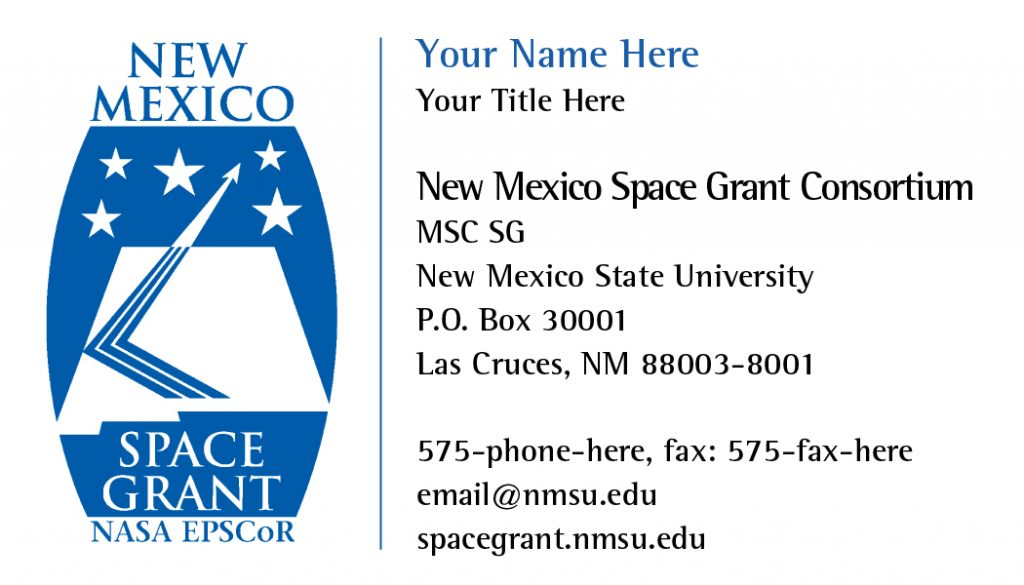 NM Space Grant – Business Cards