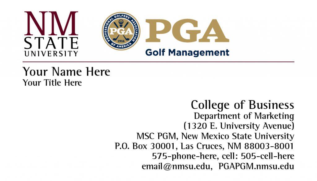 NMSU PGA Golf Management – Business Cards