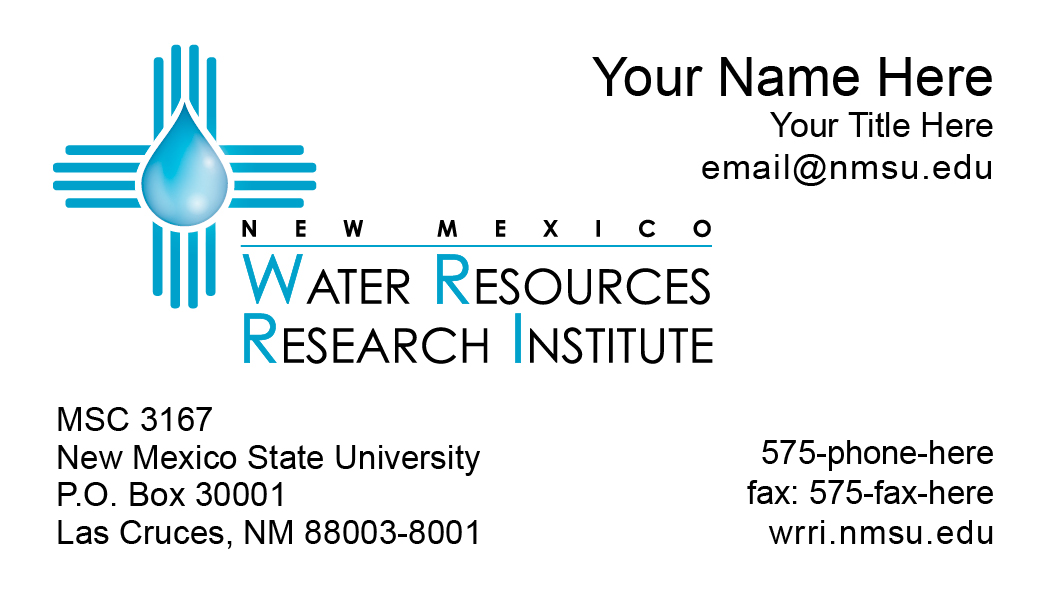 NMSU Water Resources Research Institute - Business Cards - Del Valle ...