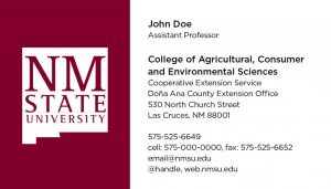 NMSU College of ACES - Cooperative Extension Service - Extension Office - Business Cards