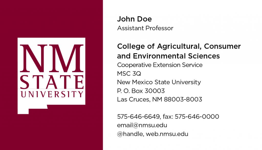 NMSU College of ACES – Cooperative Extension Service – Business Cards