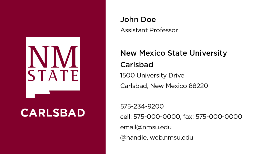 NMSU Carlsbad – Business Cards
