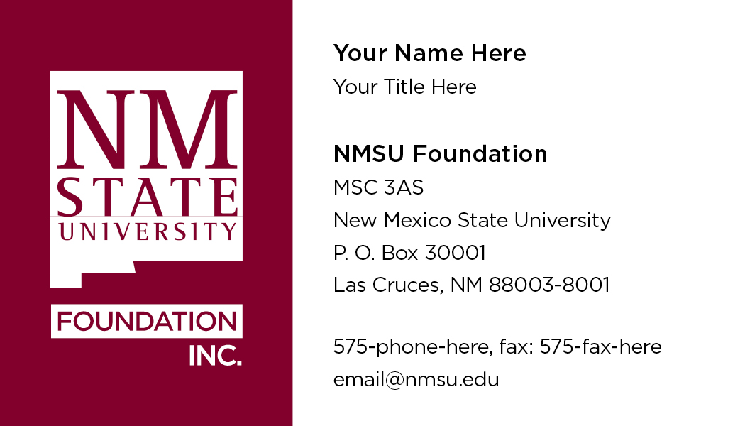 Nmsu foundation business cards del valle design imaging nmsu foundation business cards reheart Choice Image