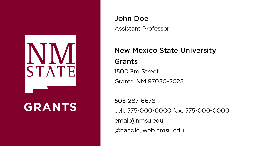 NMSU Grants – Business Cards