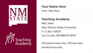NMSU Teaching Academy - Business Cards