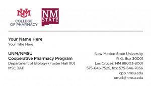 UNM/NMSU Cooperative Pharmacy Program - Business Cards