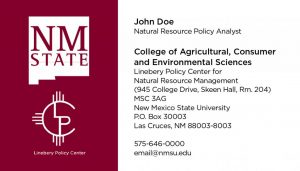NMSU College of ACES - Linebery Policy Center - Business Cards