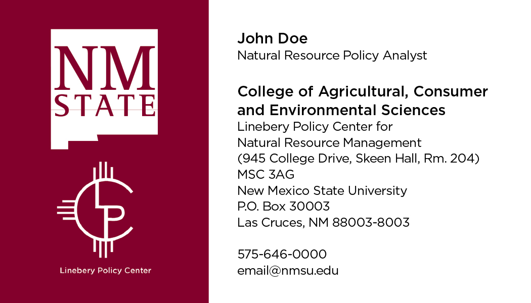 NMSU College of ACES – Linebery Policy Center – Business Cards