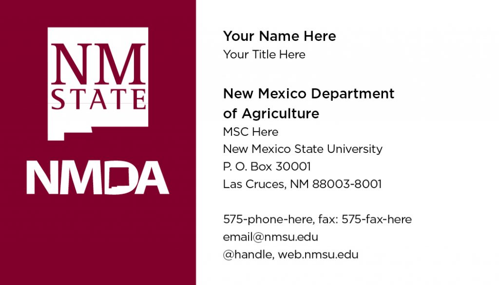 New Mexico Department of Agriculture  – Business Cards