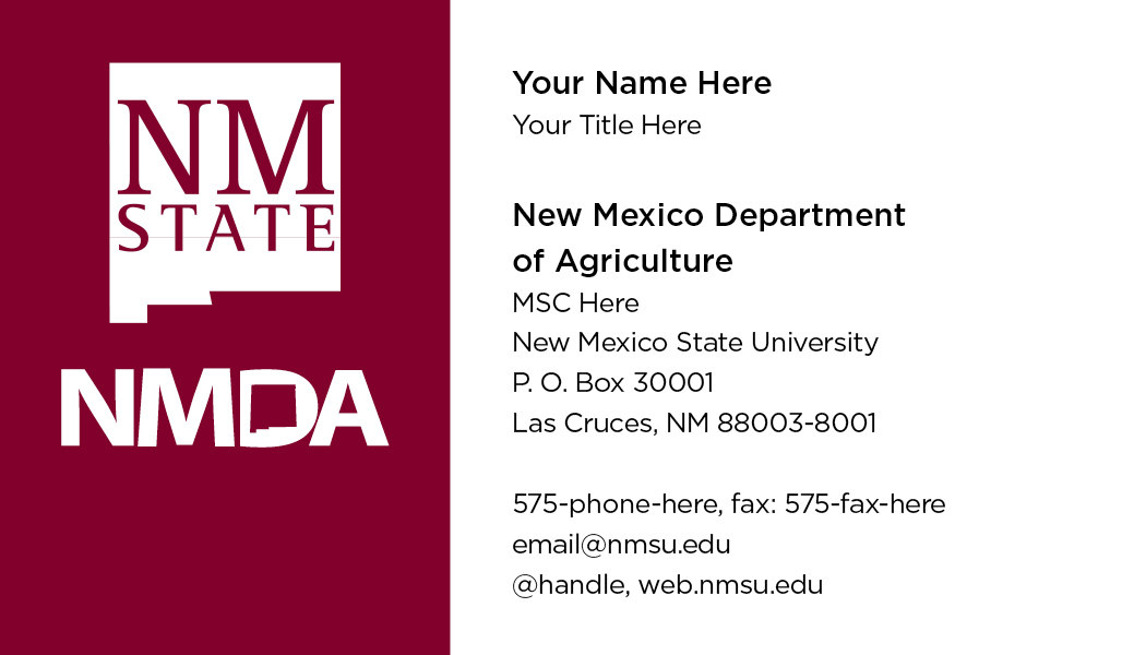 New Mexico Department of Agriculture  - Business Cards