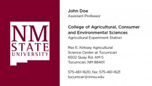 NMSU College of ACES - Agricultural Experiment Station - Business Cards Variant