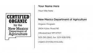 NMDA Certified Organic variant  - Business Cards